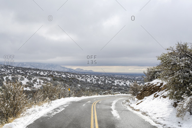 Winding Road in the snowy Sandia Mountains in New Mexico