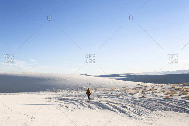 Redhead Woman hiking in White Sands National Park