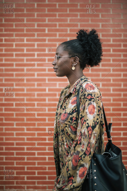 Portrait of black woman with personality in the city