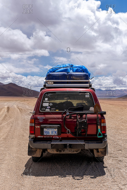 February 18, 2020: A 4x4 driving through the southwest of the altiplano in Bolivia