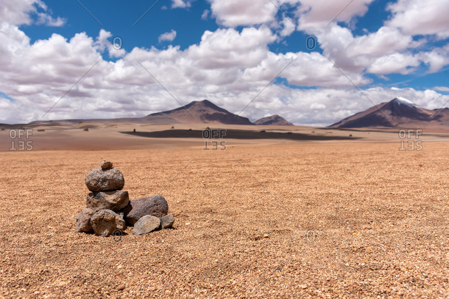 The Bolivian desert in southwest of the altiplano on a cloudy day