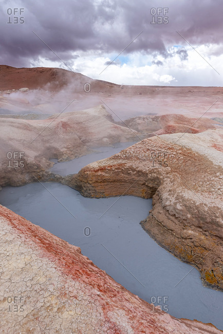 Mud pits with volcanic activity in the Andean Highlands, Bolivia.