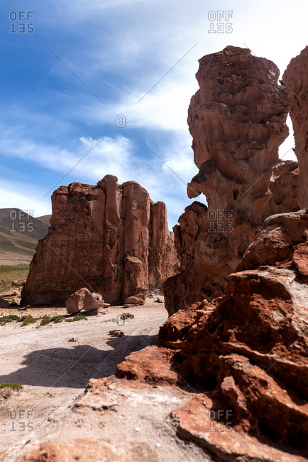Rock formations in the Eduardo Avaroa Andean Fauna National Reserve in Bolivia
