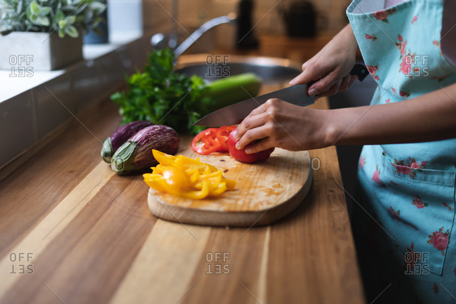 Mixed race woman chopping vegetables in kitchen