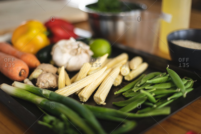 Close up of ingredients on a table in kitchen