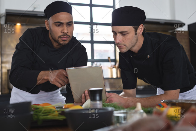Two diverse male chefs in kitchen