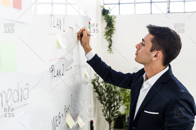 Handsome entrepreneur writing strategy on whiteboard while making business plan at creative workplace