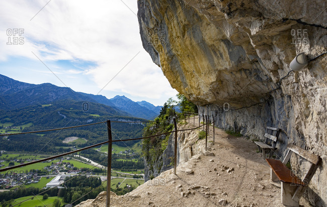 Austria- Upper Austria- BadGoisernam Hallstattersee- Steep mountainside trail of Eternal Wall