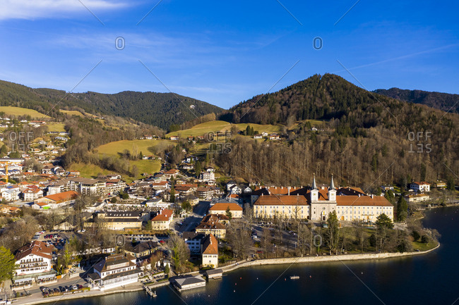 Germany- Bavaria- Tegernsee- Helicopter view of Tegernsee Abbey and surrounding town in autumn