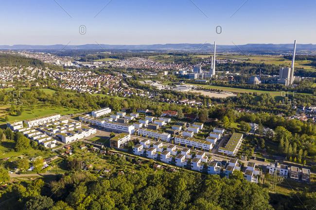 Germany- Baden-Wurttemberg- Esslingen am Neckar- Aerial view of modern energy efficient suburb