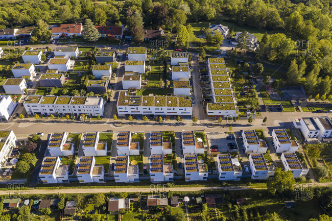 Germany- Baden-Wurttemberg-Esslingenam Neckar- Aerial view of modern energy efficient suburb