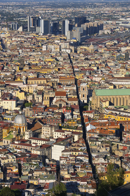Italy- Campania- Naples- Aerial view of Spaccanapoli Quarter with skyscrapers in background