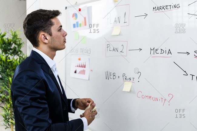 Male professional making business plan while looking at strategy on whiteboard in workplace