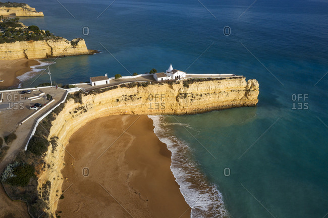 Portugal- Faro District- Drone view of Fort of Nossa Senhora da Rocha and Praia Nova beach