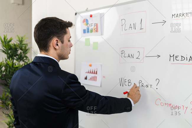 Young male entrepreneur making business plan while writing on whiteboard at workplace