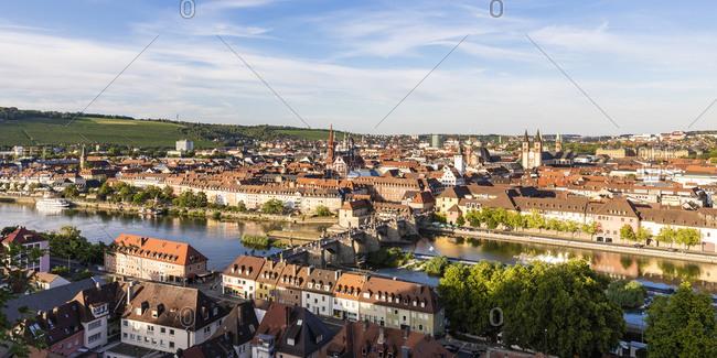 Germany- Bavaria- Wurzburg- Panorama of Alte Mainbrucke and surrounding buildings