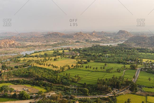 High angle view of scenic view of nature during sunrise- Karnataka- Hampi- India