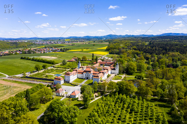 Germany- Hesse- Eichenzell- Helicopter view of Schloss Fasanerie in summer