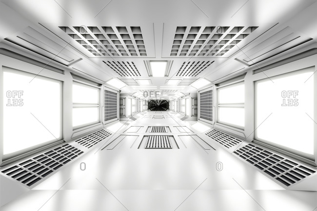 3D rendered illustration of empty illuminated white spaceship corridor