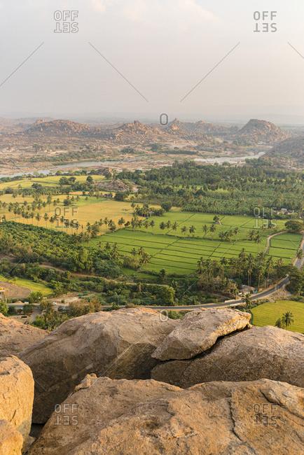High angle view of scenic view of nature- Karnataka- Hampi- India
