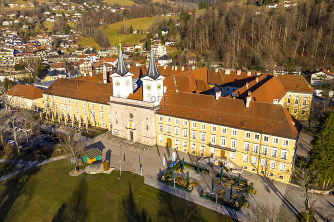Germany- Bavaria- Tegernsee- Helicopter view of Tegernsee Abbey