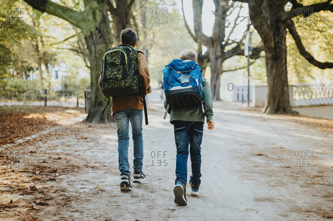 Brothers walking with backpack in public park on sunny day