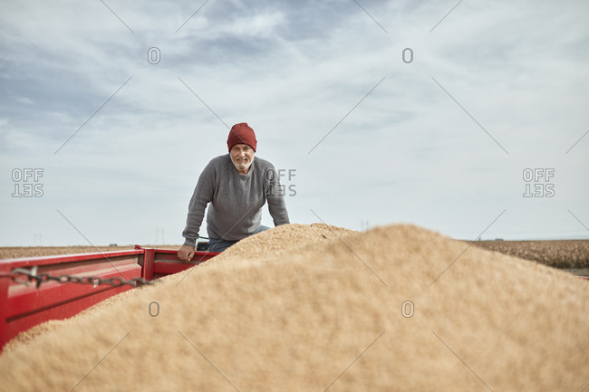 Smiling farmer standing on tractor against clear sky