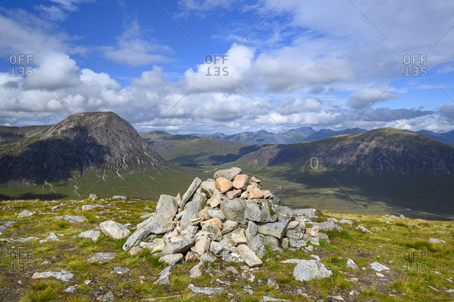 Cairn in Glen Etive with Stob Dearg in background