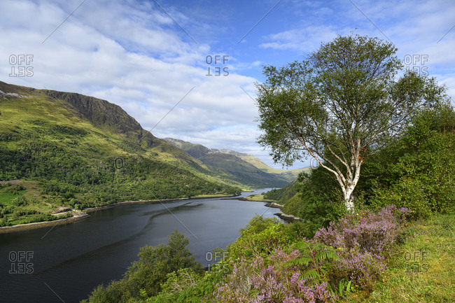 Scenic view of Loch Leven in Scottish Highlands