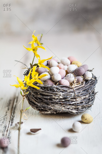Birds nest filled with chocolate Easter eggs
