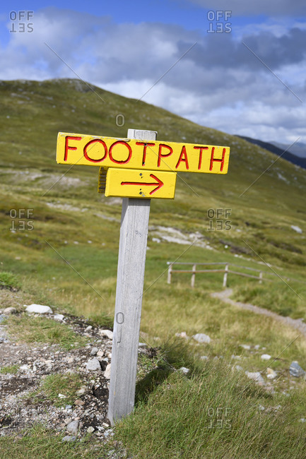 Directional sign in Scottish Highlands