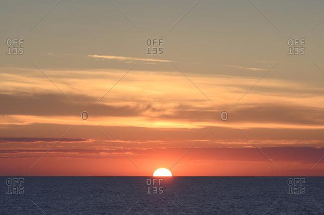 North Sea at moody sunset