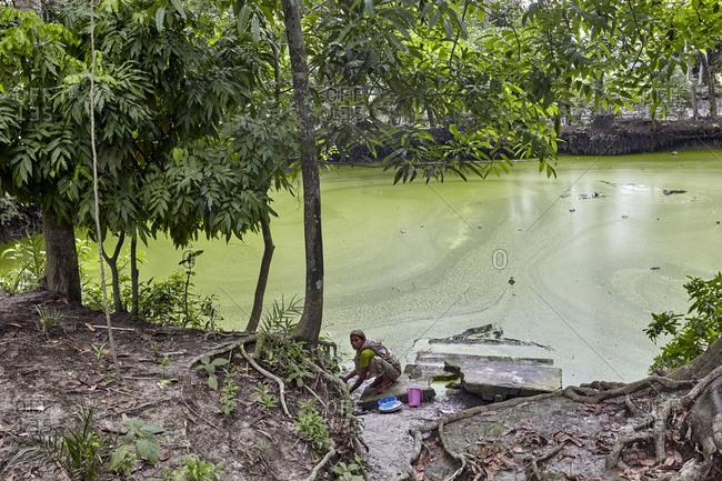 Chandra Mohan, Barisal, Bangladesh - May 15, 2013: A Bangladeshi woman doing dishes in a river in a small village near Barisal, Bangladesh
