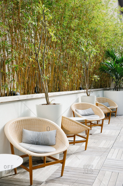 Wicker chairs at a resort in front of bamboo trees in Honolulu, Oahu, Hawaii
