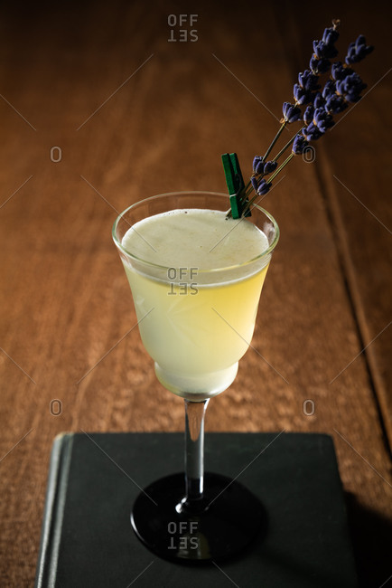 Green chartreuse and gin with lavender cocktail