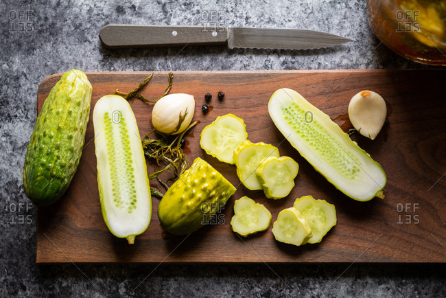 Homemade fresh pickles on cutting board