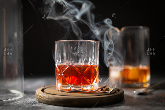 Smoked Manhattan cocktail being made