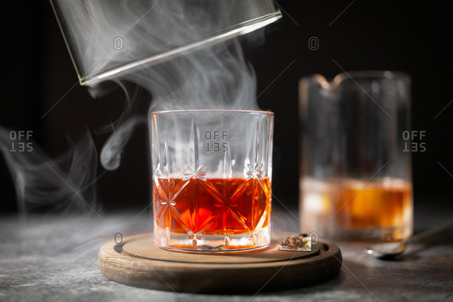 Smoked Manhattan cocktail process of being made