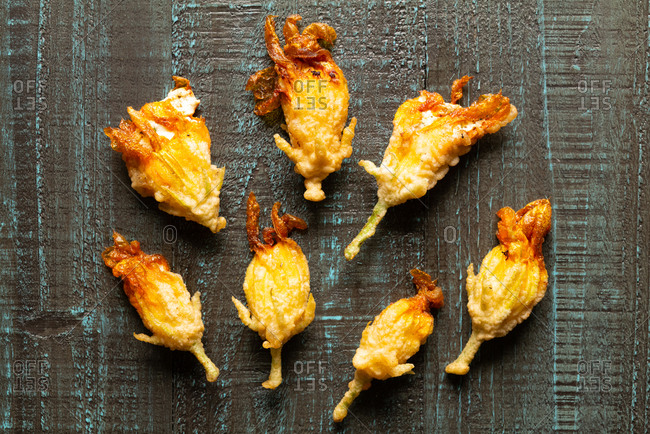 Fried squash blossoms from the garden