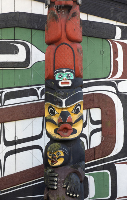 Victoria, British Columbia, Canada - December 30, 2018: Totem pole outside the British Columbia Museum on Vancouver Island