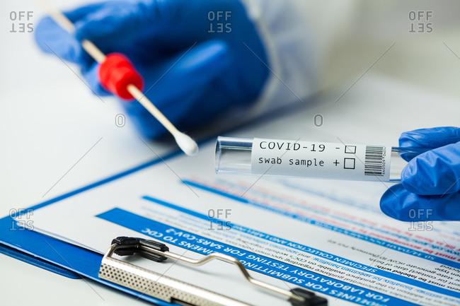Covid-19 wab sample test kit, close up