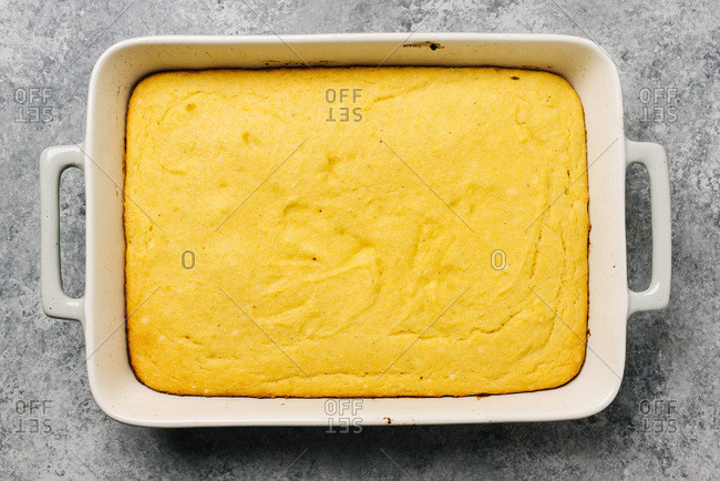 Freshly baked golden cornbread dish