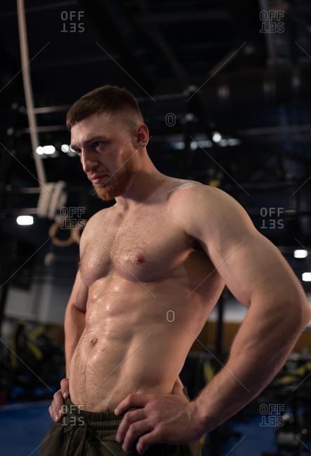 Muscular weightlifter resting in gym