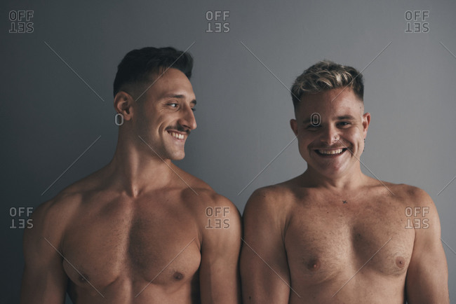 Portrait of two boys with smiling moustaches