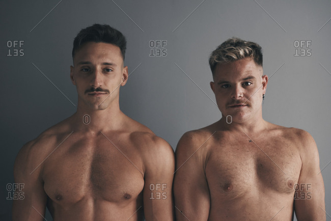 Portrait of two boys with moustaches