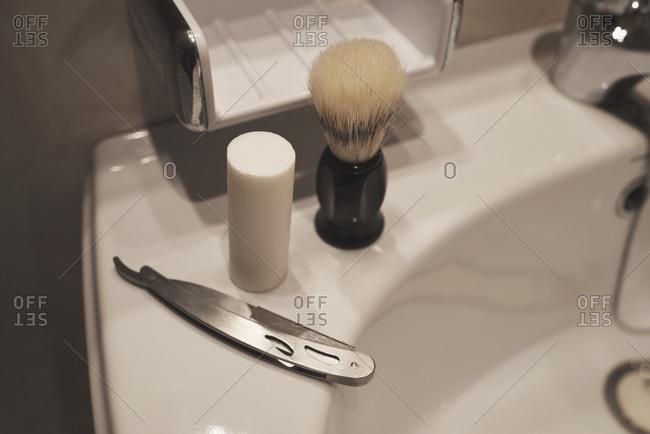 Shaving tools, brush, foam bar and razor