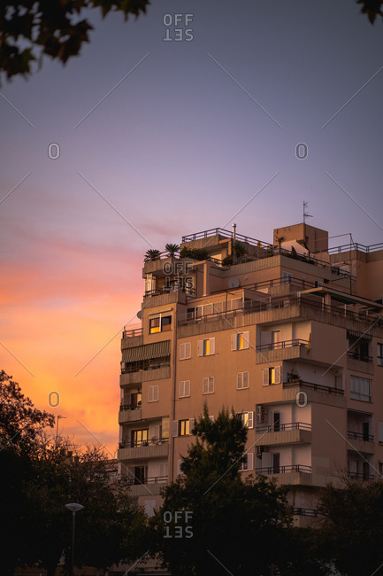 Beautiful urban sunset view from some place in Palma de Mallorca
