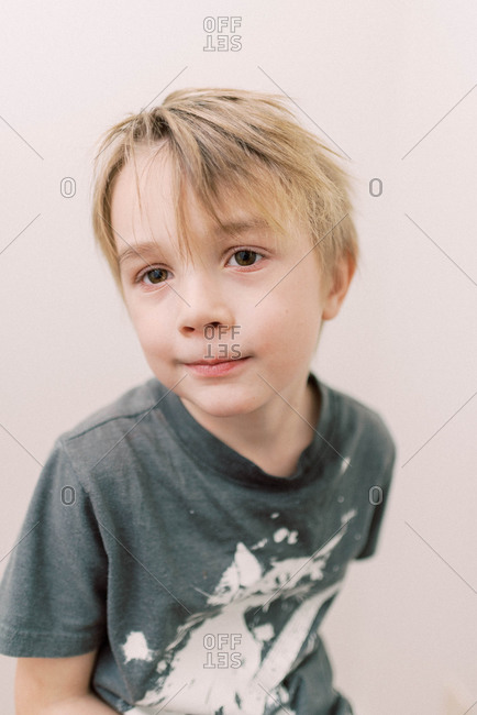 Cute little boy looking slightly absent