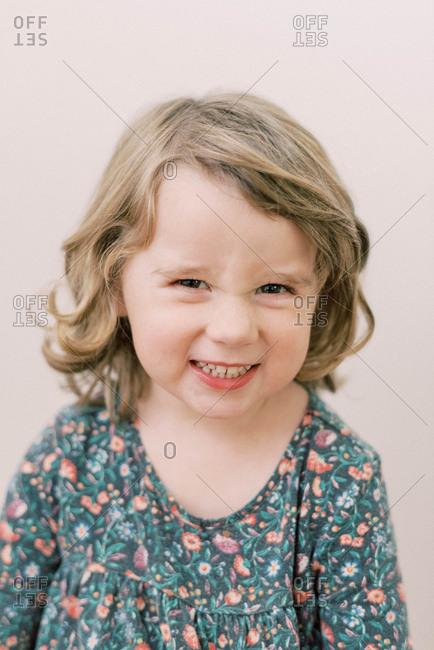 Little fierce looking toddler girl