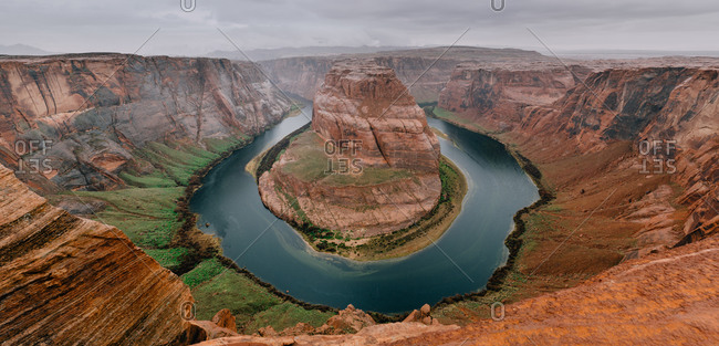 Panoramic view of horseshoe bend on a rainy day